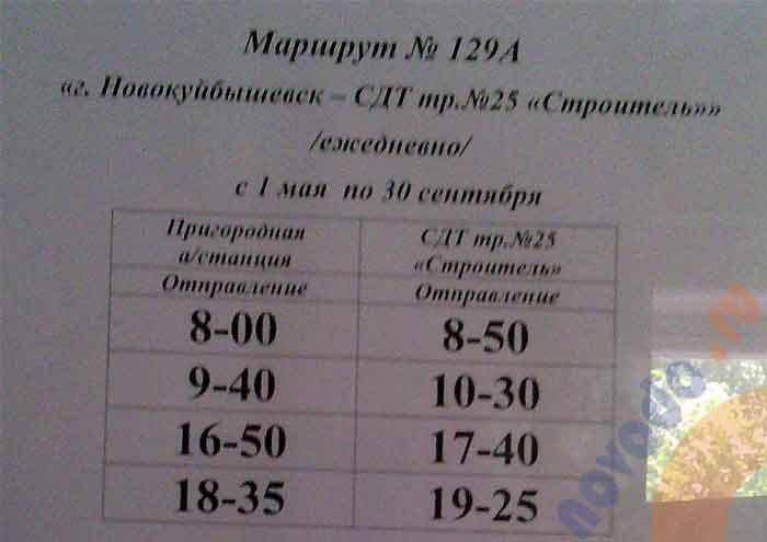 расписание автобуса 129 А