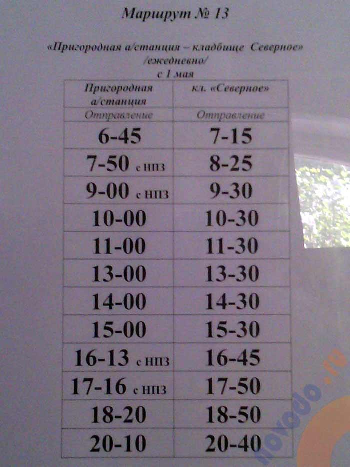 расписание автобуса 13